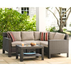 Hampton Bay Beverly 5-Piece Patio Sectional Seating Set with Beverly Beige Cushions-65-610233 - The Home Depot