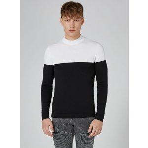 Black And White Turtle Neck Sweater - TOPMAN USA