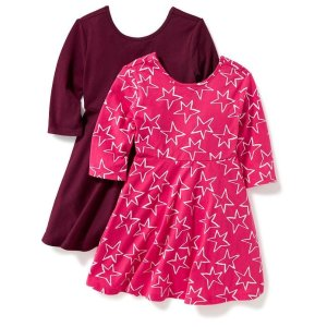 2-Pack Fit & Flare Scoop-Back Dress for Toddler Girls