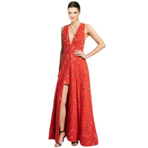 Alice & Olivia Francis Sleeveless V-Neck Flared Lace Gown | Bluefly.Com