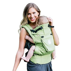 $75lillebaby Complete 6-in-1 Organic Cotton Baby Carrier in Green Meadow