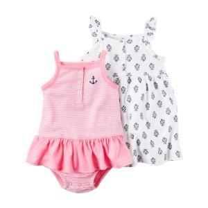 Baby Girl 2-Pack Dress & Neon Sunsuit Set | Carters.com