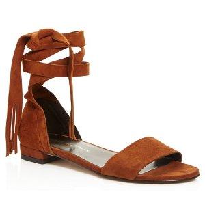 Stuart Weitzman Corbata Fringe Lace Up Sandals