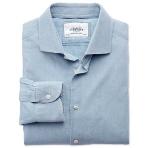 Classic fit semi-spread collar business casual chambray denim blue shirt | Charles Tyrwhitt