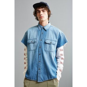 Vintage Denim Cap Sleeve Button-Down Shirt | Urban Outfitters