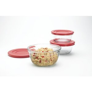Anchor Hocking 6pc Mixing Bowl Set w/Red Plastic Lids - Mom, Treat Yourself - Sale