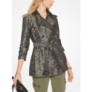 Floral Satin Jacquard Trench Coat