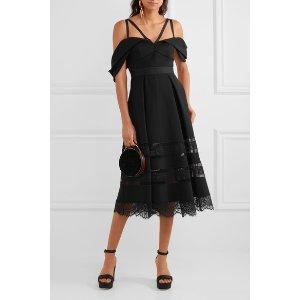 Self-Portrait   Cold-shoulder lace-trimmed crepe midi dress   NET-A-PORTER.COM