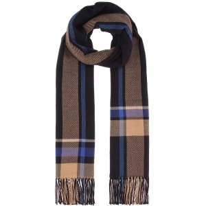 Cesar Check wool and cotton scarf