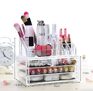 Wander Agio Bathroom Makeup 4 Drawers Art Tool Accessories Organizer Acrylic Jewelry and Cosmetic Storage Display Brushes Boxes 2 Set
