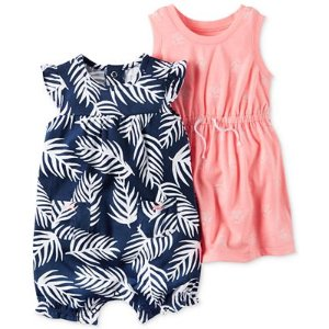 Carter's 2-Pc. Palm-Print Romper & Floral-Print Dress Set, Baby Girls (0-24 months) - Dresses - Kids & Baby - Macy's