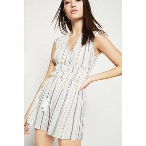 Striped Faux-Wrap Sleeveless 连衣裙