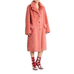 Faux Fur Single-Breasted Coat