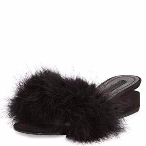 Alexander Wang Lou Marabou Feather Sandal, Black