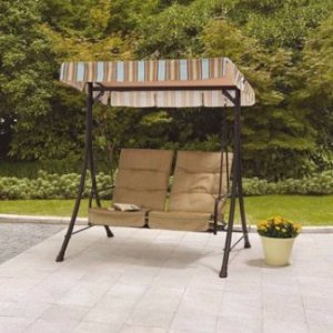 Mainstays Richland Landing 2-Seat Swing with Pullout Ottomans