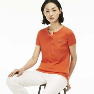 Women's Buttoned Ribbed Crew Neck Cotton Blend T-Shirt | LACOSTE
