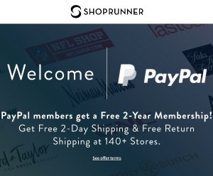 FreePayPal Members get 1-Year ShopRunner Membership