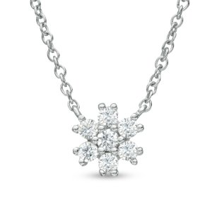 1/10 CT. T.W. Diamond Snowflake Cluster Necklace in 14K White Gold - Save on Select Styles - Zales