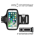 PORTHOLIC Water Resistant Sports Armband Plus Extention Strap- With Key Holder,Cable Locker,Cards Holder For iPhone 6/6S/5/5C/5S,Galaxy S6/S5/S4 (5.1 inch Black)