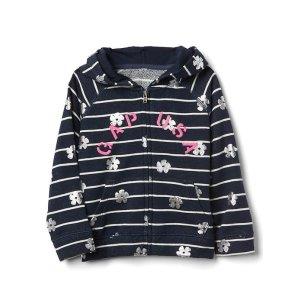 Logo floral zip hoodie