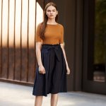 WOMEN HIGH WAIST BELTED FLARE MIDI SKIRT @ Uniqlo