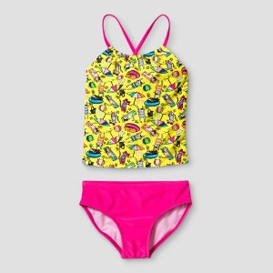 Girls' Tankini Cat Print Cat & Jack™ - Yellow : Target