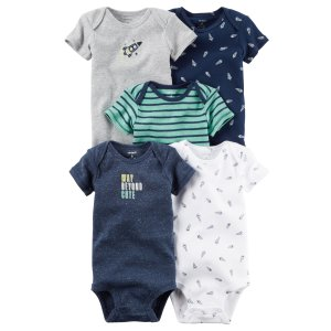 Baby Boy 5-Pack Short-Sleeve Bodysuits | Carters.com