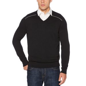 V-Neck Solid Stripe Sweater