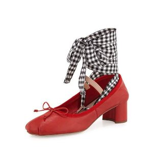 Miu Miu Leather Ankle-Wrap Mary Jane 45mm Pump