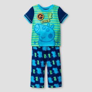 Toddler Boys' Peppa Pig George 2-Piece Sleepwear Set - Blue : Target