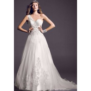 One Shoulder Tulle Ball Gown with Lace Appliques