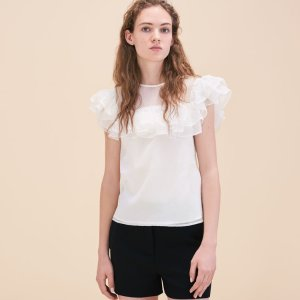 LUCETTE Silk and dotted Swiss dress - Tops & T-Shirts - Maje.com