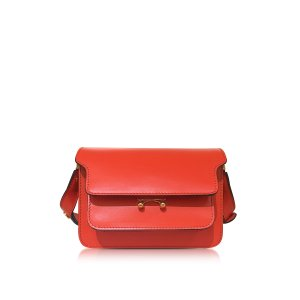 Marni Poppy Red Leather Mini Trunk Bag