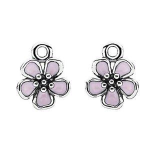 PANDORA Cherry Blossom Silver Enamel Earring Charms
