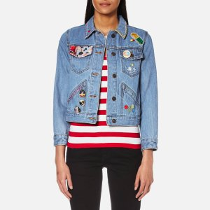 Marc Jacobs Women's Shrunken Denim Jacket with Embellishments - Classic Indigo - Free UK Delivery over £50