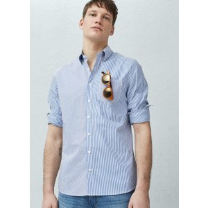 Slim-fit striped patchwork shirt - Men | OUTLET USA