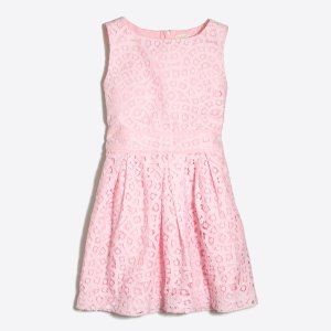 Girls' Pleated Lace Party Dress