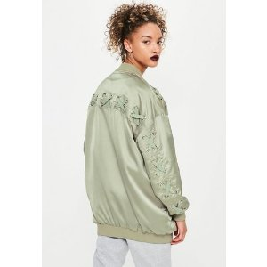 Missguided - Green Satin Lace Detail Bomber Jacket