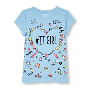 Girls Short Sleeve 'ITGIRL' Doodle Graphic Tee | The Children's Place