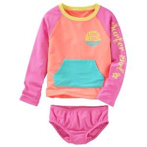 Kid Girl OshKosh Colorblock Rashguard Set | OshKosh.com