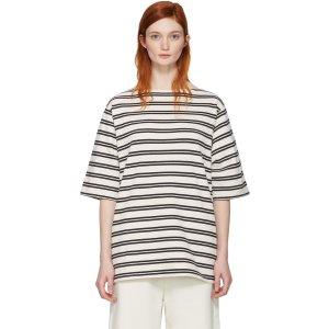 Acne Studios: Ecru Striped Dani T-Shirt | SSENSE
