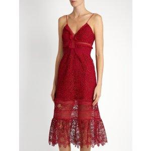 Floral Blush guipure-lace midi dress | Self-portrait