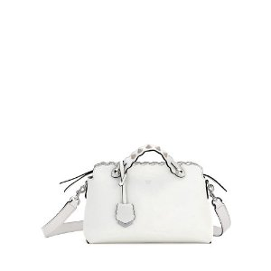 Fendi By the Way Small Scalloped Satchel Bag, White