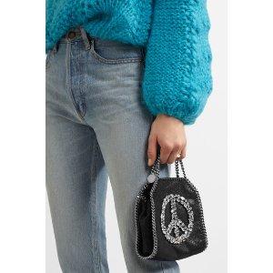 Stella McCartney   The Falabella tiny embellished faux brushed-leather shoulder bag