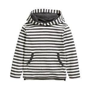 Jersey Hooded Shirt | White/striped | Kids | H&M US