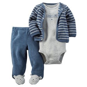 3-Piece Terry Footed Pant Set