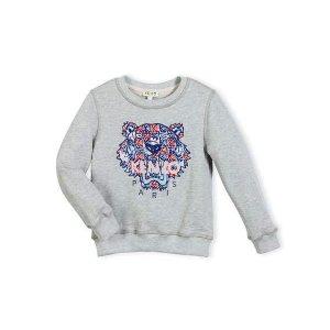 Kenzo Abstract Logo Crewneck Pullover Sweatshirt, Gray/Royal, Size 8-12