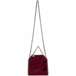 Burgundy Velvet Mini Falabella Bag