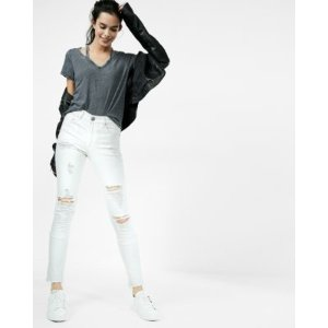 White High Waisted Distressed Stretch Ankle Jean Leggings | Express