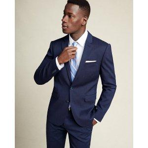 Skinny Innovator Navy Linen-wool Blend Suit Jacket